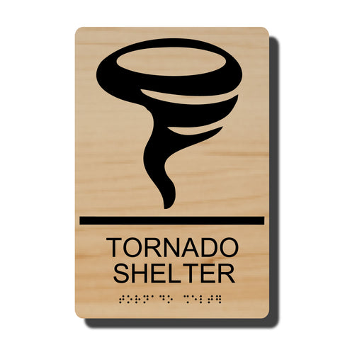 "ADA Tornado Shelter Sign with Braille - 14 Colors - 6"" x 9"""