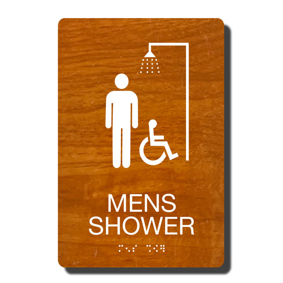 ADA Mens Accessible Shower Signs - ADA Compliant - Available in 14 color combinations - napadasigns.com