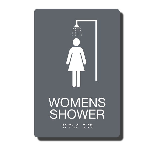 ADA Womens Shower Signs - ADA Compliant - Available in 14 color combinations - napadasigns.com