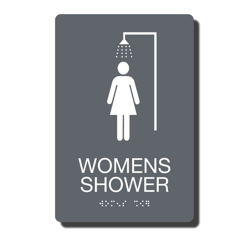 "ADA Women Shower Sign with Braille - 14 Colors - 6"" x 9"""