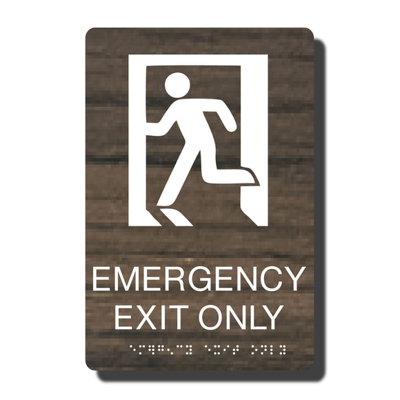 Standard ADA Sign - NapADASigns - ADA Emergency Exit Sign with Braille - 14 Colors - 6
