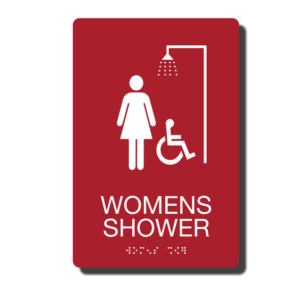 ADA Womens Accessible Shower Signs - ADA Compliant - Available in 14 color combinations - napadasigns.com