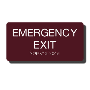 "Standard ADA Sign - NapADASigns - ADA Emergency Exit Sign with Braille - 14 Colors - 8"" x 4"" - napadasigns"