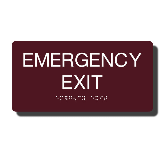 Standard ADA Sign - NapADASigns - ADA Emergency Exit Sign with Braille - 14 Colors - 8