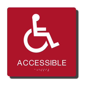 "Standard ADA Braille Sign - ADA Compliant Accessible Wheelchair Sign - 14 Colors - 8"" x 8"" - napadasigns"