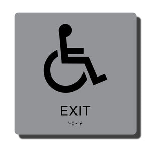 "Standard ADA Braille Sign - ADA Compliant Exit Sign with Braille - Silver with Black - 8"" x 8"" - napadasigns"