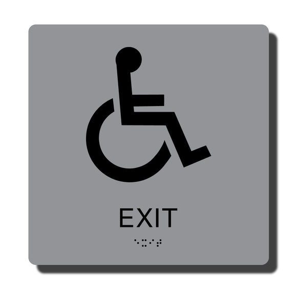 Standard ADA Braille Sign - ADA Compliant Exit Sign with Braille - Silver with Black - 8