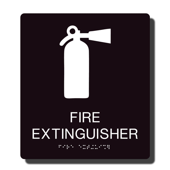 Standard ADA Sign - NapADASigns - ADA Fire Extinguisher Sign with Braille - 14 Colors - 8