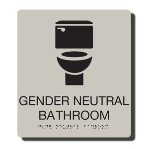 "Standard ADA Sign - NapADASigns - ADA Gender Neutral Bathroom Sign with Braille - Putty with Black - 8"" x 9"" - napadasigns"