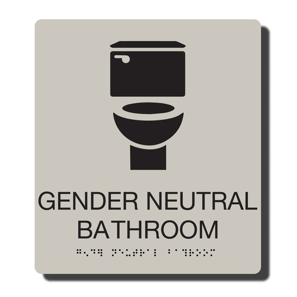 Standard ADA Sign - NapADASigns - ADA Gender Neutral Bathroom Sign with Braille - Putty with Black - 8