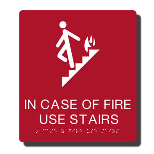 "Standard ADA Sign - NapADASigns - ADA In Case of Fire Sign with Braille - 23 Colors - 8"" x 9"" - napadasigns"