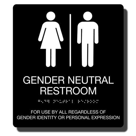 "ADA Gender Neutral Restroom Sign with Braille - 14 Colors - 9"" x 10"""