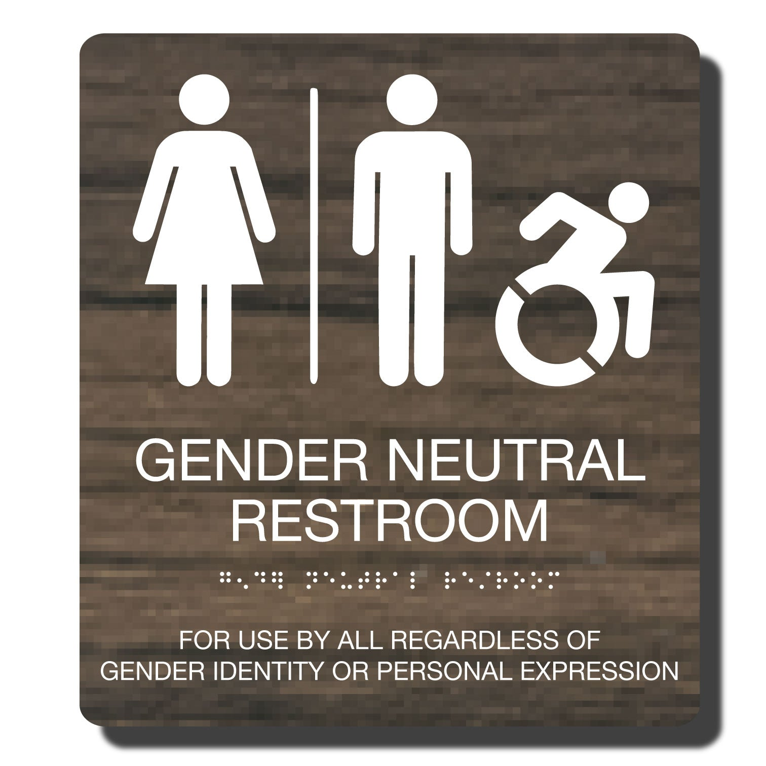 Standard ADA Sign - NapADASigns - ADA Gender Neutral Restroom Accessible Sign with Braille - Kona with White - 9