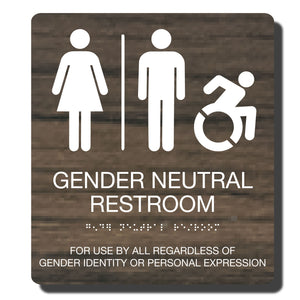 "Standard ADA Sign - NapADASigns - ADA Gender Neutral Restroom Accessible Sign with Braille - Kona with White - 9"" x 10"" - napadasigns"