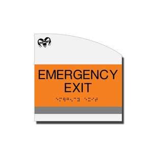 ADA Emergency Exit Sign with Braille - Acrylic layered plastic - Brand Collection