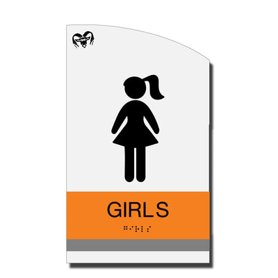 ADA Girl Restroom Sign with Braille - Acrylic layered plastic - Brand Collection