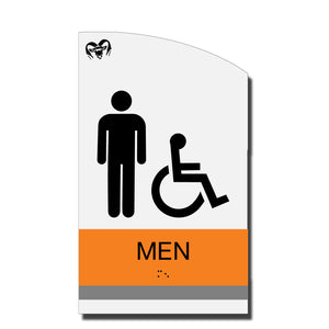 ADA Men Accessible Restroom Sign with Braille - Acrylic layered plastic - Brand Collection