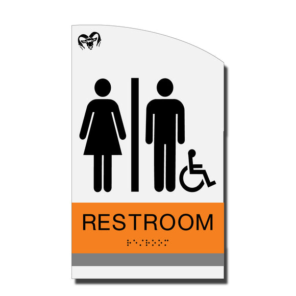ADA Accessible Restroom Sign with Braille - Acrylic layered plastic - Brand Collection