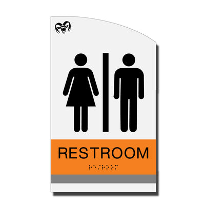 ADA Restroom Restroom Sign with Braille - Acrylic layered plastic - Brand Collection
