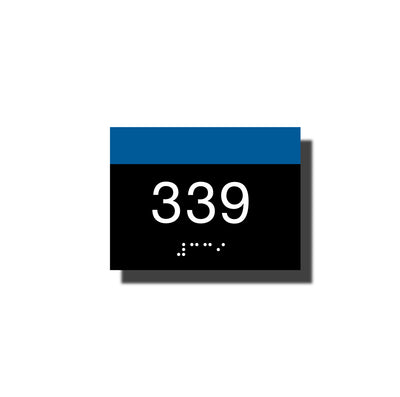 Custom ADA Room Number Sign with Braille - Plastic - Chroma Collection