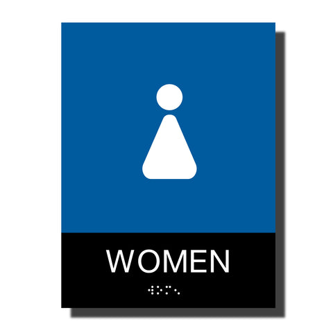 ADA Women Restroom Sign with Braille - Plastic - Chroma Collection