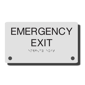 Acrylic ADA Signs - Custom Braille Room Signs, ADA Construct Room Name Sign - NapADASigns - ADA Emergency Exit Sign with Braille - Acrylic - Construct Collection - napadasigns