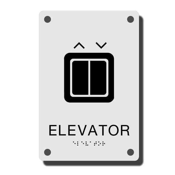 Acrylic ADA Signs -  ADA Construct Elevator Sign - NapADASigns - ADA Elevator Sign with Braille - Acrylic -  Construct Collection - napadasigns