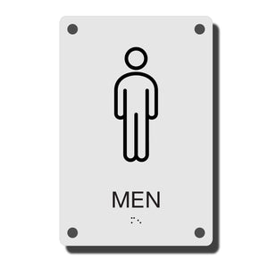 ADA Construct Restroom Sign - NapADASigns - ADA Men Restroom Sign with Braille - Acrylic - Construct Collection - napadasigns