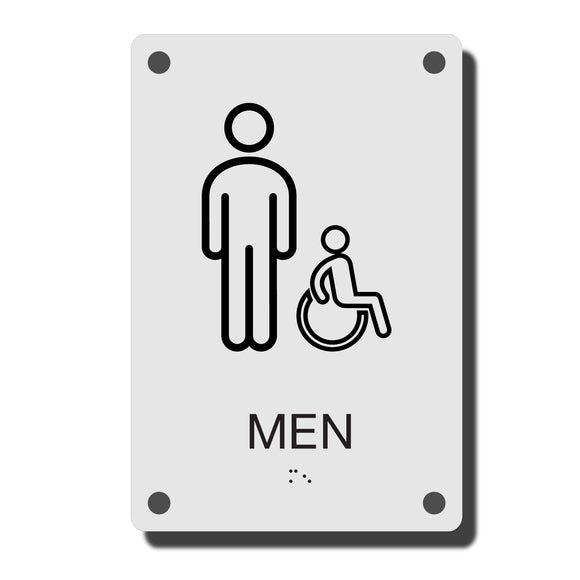 ADA Construct Restroom Sign - NapADASigns - ADA Men Handicap Restroom Sign with Braille - Acrylic - Construct Collection - napadasigns