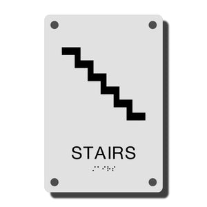 ADA Construct Stair Sign - NapADASigns - ADA Stair Sign with Braille - Acrylic - Construct Collection - napadasigns