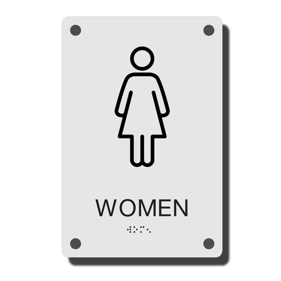 ADA Construct Restroom Sign - NapADASigns - ADA Women Restroom Sign with Braille - Acrylic - Construct Collection - napadasigns