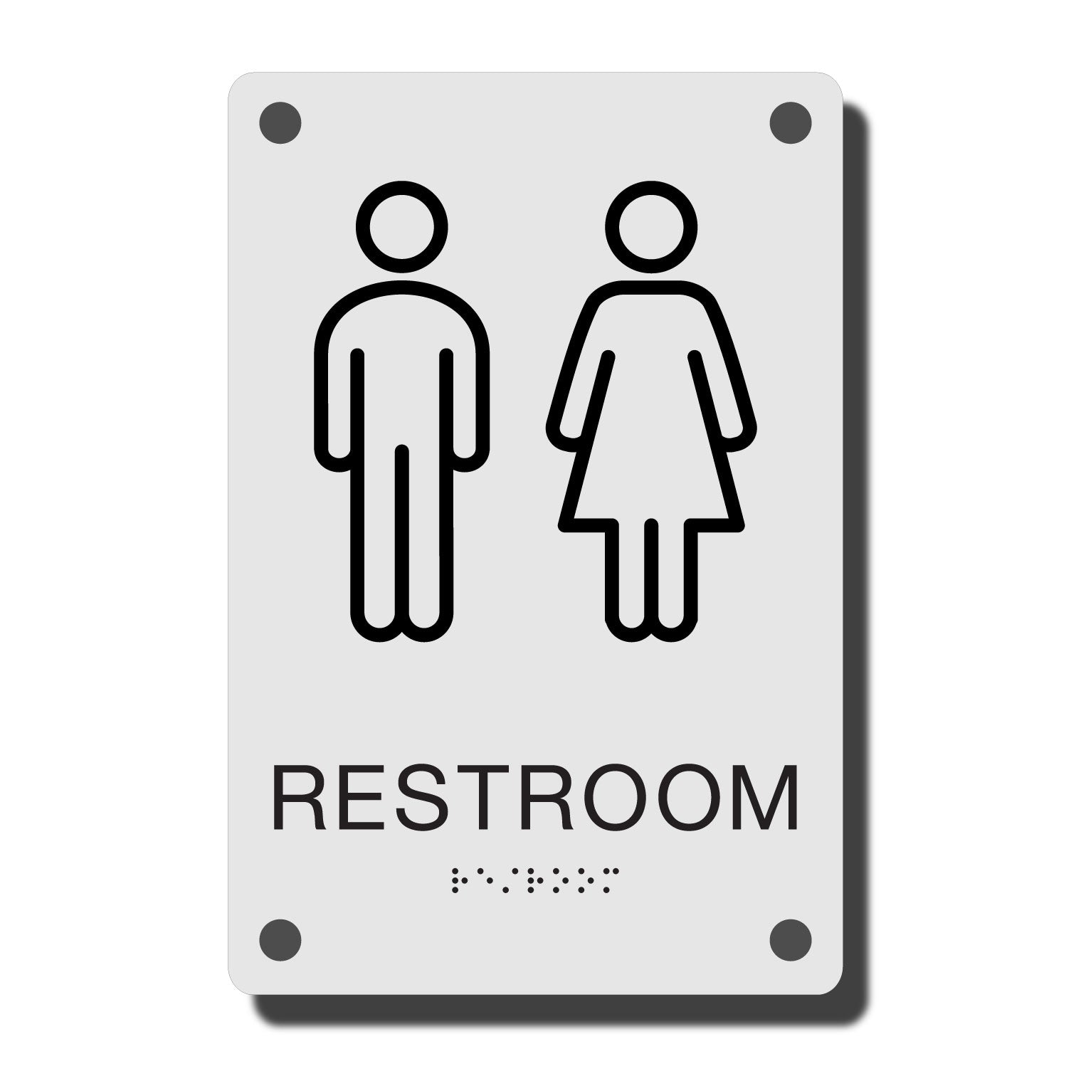 ADA Construct Restroom Sign - NapADASigns - ADA Restroom Sign with Braille - Acrylic - Construct Collection - napadasigns