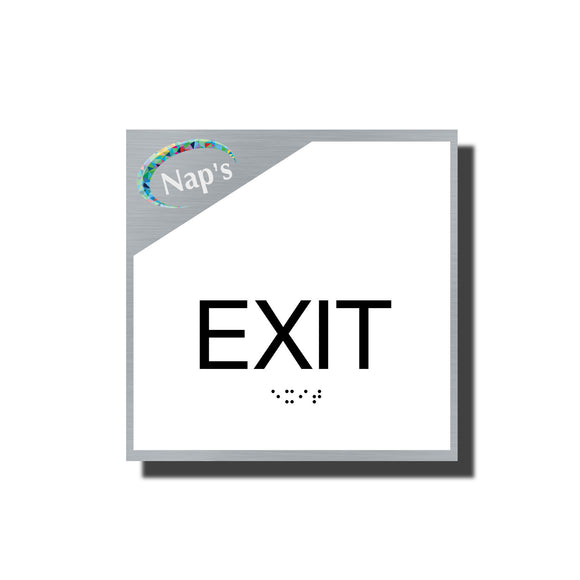 ADA Sterling Exit Sign - NapADASigns - ADA Exit Sign with Braille and Logo - Aluminum - Sterling Collection - napadasigns