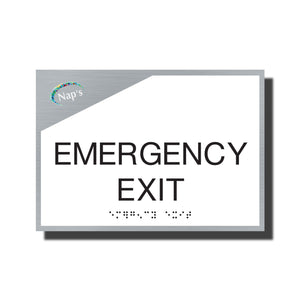 ADA Sterling Emergency Exit Sign - NapADASigns - ADA Emergency Exit Sign with Braille and Logo - Aluminum - Sterling Collection - napadasigns