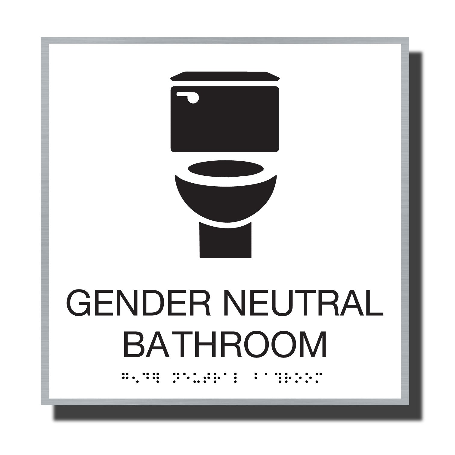 ADA Sterling Gender Neutral - NapADASigns - ADA Gender Neutral Bathroom Sign - Aluminum - Sterling Collection - napadasigns