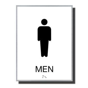 ADA Sterling Restroom Sign - NapADASigns - ADA Men Restroom Sign with Braille - Aluminum - Sterling Collection - napadasigns