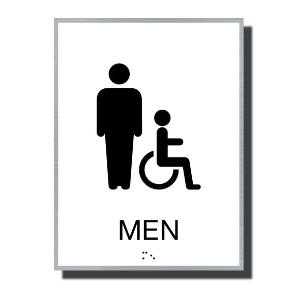 ADA Sterling Restroom Sign - NapADASigns - ADA Men Accessible Restroom Sign with Braille - Aluminum - Sterling Collection - napadasigns