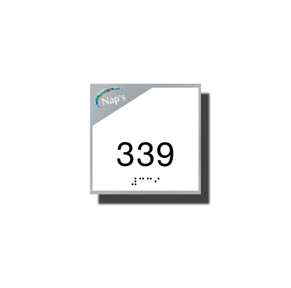 Custom Braille Room Signs - ADA Sterling Room Number Sign - NapADASigns - Custom ADA  Room Number Sign with Braille and Logo - Aluminum - Sterling Collection - napadasigns