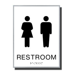 ADA Sterling Restroom Sign - NapADASigns - ADA Restroom Sign with Braille - Aluminum - Sterling Collection - napadasigns