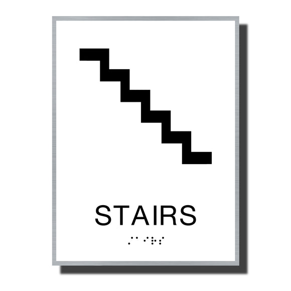 ADA Sterling Stair Sign - NapADASigns - ADA Stair Sign with Braille - Aluminum - Sterling Collection - napadasigns