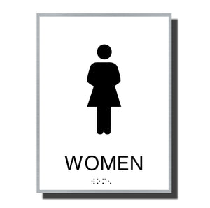 ADA Sterling Restroom Sign - NapADASigns - ADA Women Restroom Sign with Braille - Aluminum - Sterling Collection - napadasigns