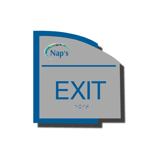 Custom ADA Braille Sign - ADA Structure Collection Exit Sign - Blue Layered Plastic with Tactile Print - Add your Custom Logo - ADA Compliant - NapADAsigns