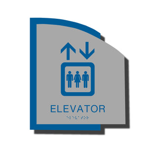 Custom ADA Braille Sign - ADA Structure Collection Elevator Sign - Blue Layered Plastic with Tactile Print - ADA Compliant - NapADAsigns