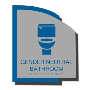 Custom ADA Braille Sign - ADA Structure Collection Gender Neutral Restroom Sign - Blue Layered Plastic with Tactile Print - ADA Compliant - NapADAsigns