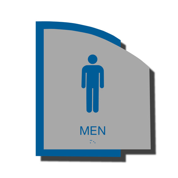 Custom ADA Braille Sign - ADA Structure Collection Men Restroom Sign - Blue Layered Plastic with Tactile Print - ADA Compliant - NapADAsigns