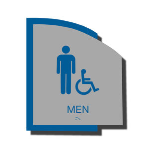 Custom ADA Braille Sign - ADA Structure Collection Men Accessible Restroom Sign - Blue Layered Plastic with Tactile Print - ADA Compliant - NapADAsigns