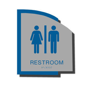 Custom ADA Braille Sign - ADA Structure Collection Restroom Sign - Blue Layered Plastic with Tactile Print - ADA Compliant - NapADAsigns