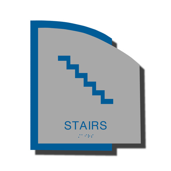 Custom ADA Braille Stair Sign - ADA Structure Collection Stair Sign - Blue Layered Plastic with Tactile Print - ADA Compliant - NapADAsigns