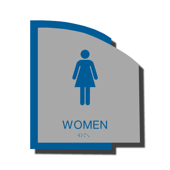 Custom ADA Braille Sign - ADA Structure Collection Women Restroom Sign - Blue Layered Plastic with Tactile Print - ADA Compliant - NapADAsigns