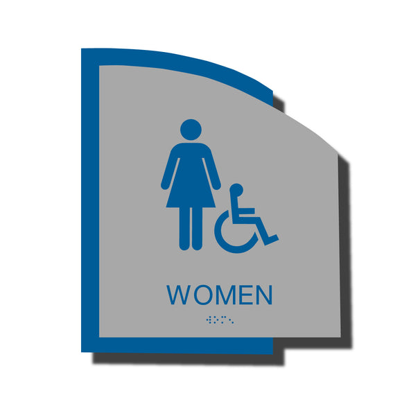 Custom ADA Braille Sign - ADA Structure Collection Women Accessible Restroom Sign - Blue Layered Plastic with Tactile Print - ADA Compliant - NapADAsigns